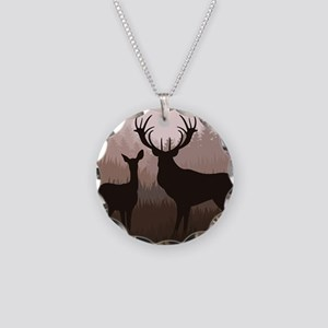 Deer Necklace Circle Charm