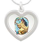 Hummingbird Dreamcatcher Silver Heart Necklace