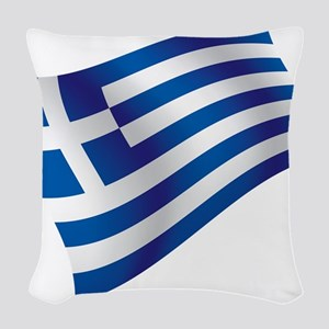 Greek Flag Woven Throw Pillow