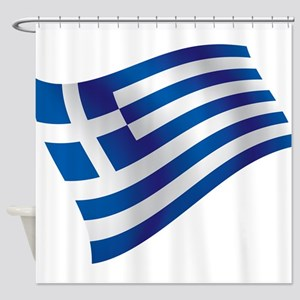 Greek Flag Shower Curtain