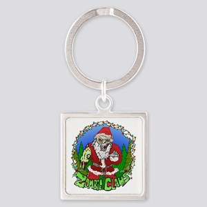 Zombie Claus Square Keychain