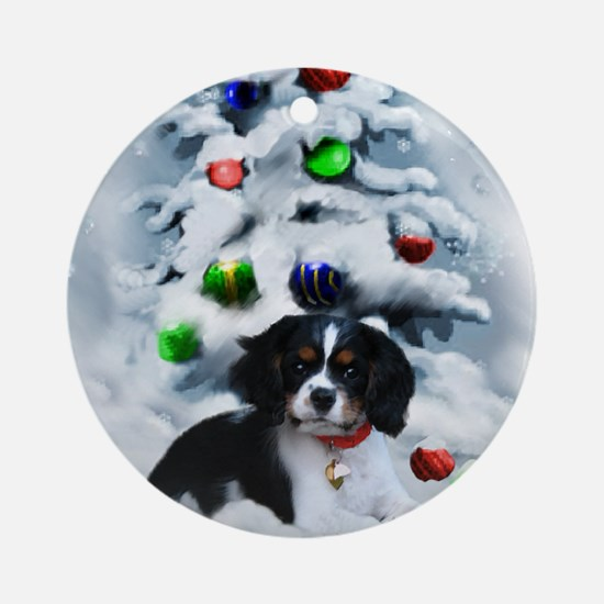 Cavalier King Charles Christmas Round Ornament