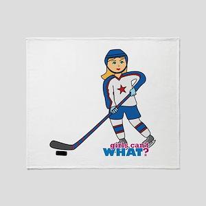Hockey Player Girl Throw Blanket
