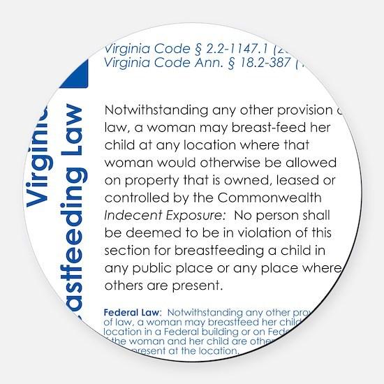 Breastfeeding In Public Law - Vir Round Car Magnet