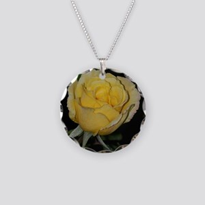 Yellow Rose of Texas Necklace Circle Charm