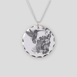 Hummingbird Necklace Circle Charm