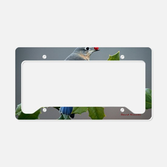 Bluebird and Holly License Plate Holder
