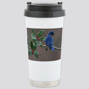 Bluebird in Holly Stainless Steel Travel Mug