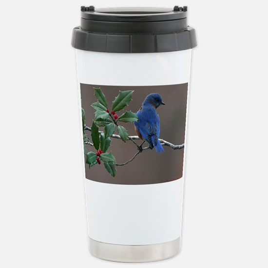 Bluebird in Holly Stainless Steel Travel Mug