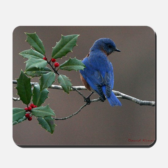 Bluebird in Holly Mousepad