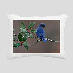 Bluebird in Holly Rectangular Canvas Pillow