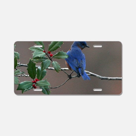 Bluebird in Holly Aluminum License Plate