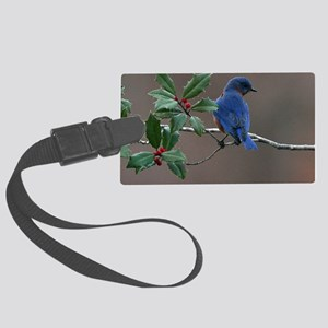 Bluebird in Holly Large Luggage Tag