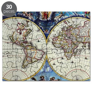 Antique World Map Puzzle.Antique World Maps Products Cafepress