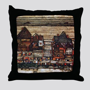 Egon Schiele Houses with laundry line Throw Pillow