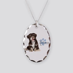 Havanese Puppy Necklace Oval Charm