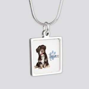 Havanese Puppy Silver Square Necklace
