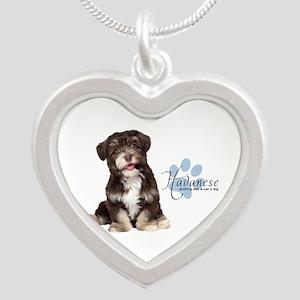 Havanese Puppy Silver Heart Necklace