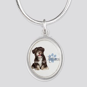 Havanese Puppy Silver Oval Necklace