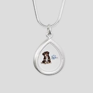 Havanese Puppy Silver Teardrop Necklace