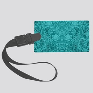 Leather Floral Turquoise Large Luggage Tag
