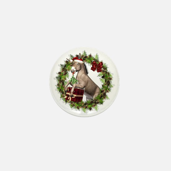 Donkey Santa Hat Inside Wreath Mini Button