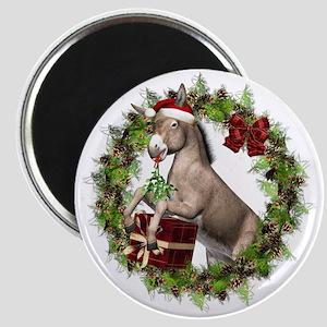 Donkey Santa Hat Inside Wreath Magnets