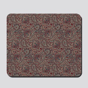 Red Blue Beige Paisley Mousepad