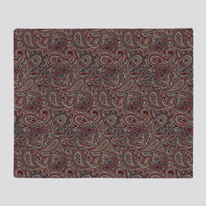 Red Blue Beige Paisley Throw Blanket