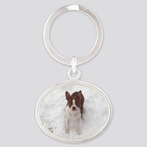 Red Boston Terrier Oval Keychain
