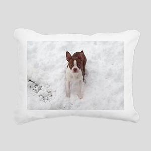 Red Boston Terrier Rectangular Canvas Pillow