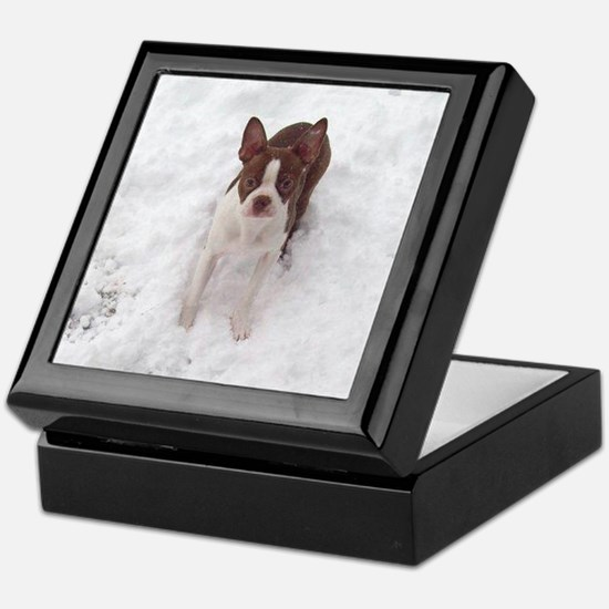 Red Boston Terrier Keepsake Box
