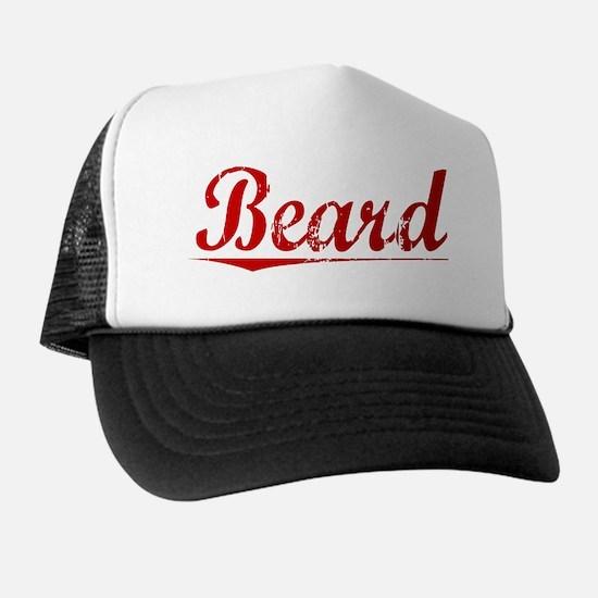 Beard, Vintage Red Trucker Hat