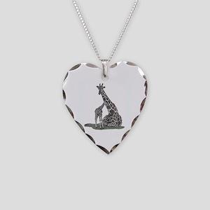 Giraffes Necklace Heart Charm
