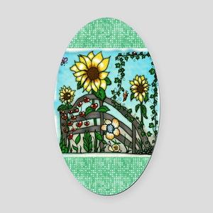 The Sunflower Garden Oval Car Magnet