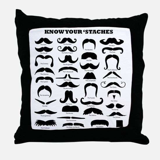 Know Your Staches Throw Pillow
