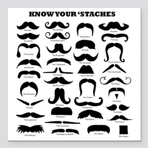 """Know Your Staches Square Car Magnet 3"""" x 3"""""""