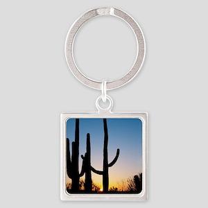 Arizona Cactus Square Keychain