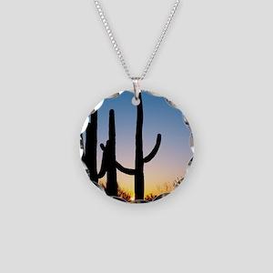 Arizona Cactus Necklace Circle Charm