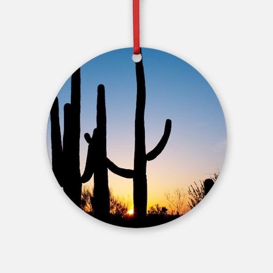 Arizona Cactus Round Ornament