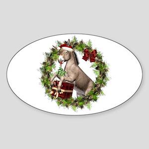Donkey Santa Hat Inside Wreath Sticker