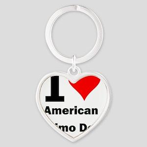 I Love American Eskimo Dogs Heart Keychain