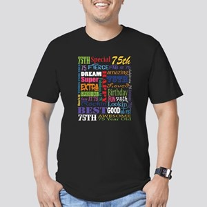 75th Birthday Typograp Men's Fitted T-Shirt (dark)