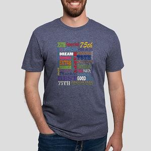 75th Birthday Typography Mens Tri-blend T-Shirt