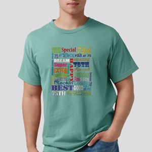 75th Birthday Typography Mens Comfort Colors Shirt