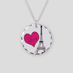 Love Paris Eiffel Tower Heart Necklace