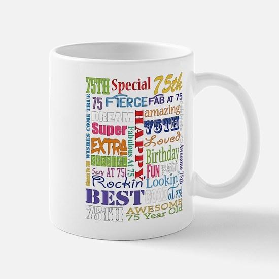 75th Birthday Typography Mug