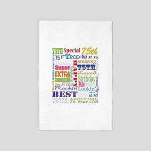 75th Birthday Typography 4' x 6' Rug