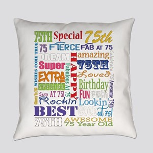 75th Birthday Typography Everyday Pillow