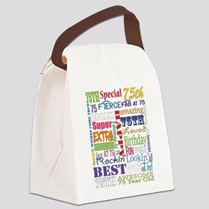 75th Birthday Typography Canvas Lunch Bag